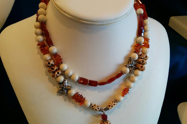 A necklace by Lila Beth Jewelry.