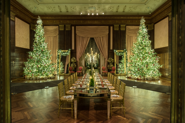The French-inspired holiday display has more than 50 trees with sparkling crystal ornaments.