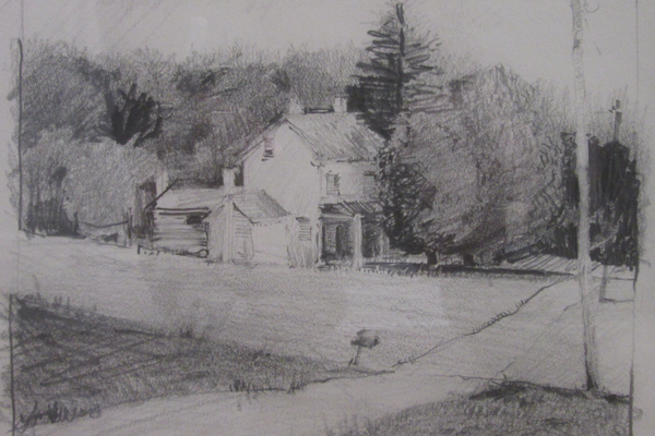 Mark Dance's pencil sketch for 'Rural Route.'