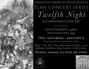 Twelfth night concert poster 2018 with historic print copy 300x232