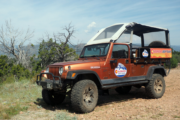 A sturdy Jeep can navigate steep and rocky roads to take visitors on a tour of Royal Gorge. Photo by Alison Roberts-Tse.