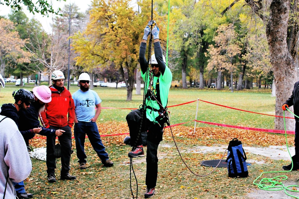 And he's off! Murray City Power's Jake Bleazard starts a timed tree climb at the International Tree Climbing Championship. (Photo Murray City Power)