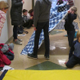 Even the hallways were filled with families making blankets at Unionville Elementary.