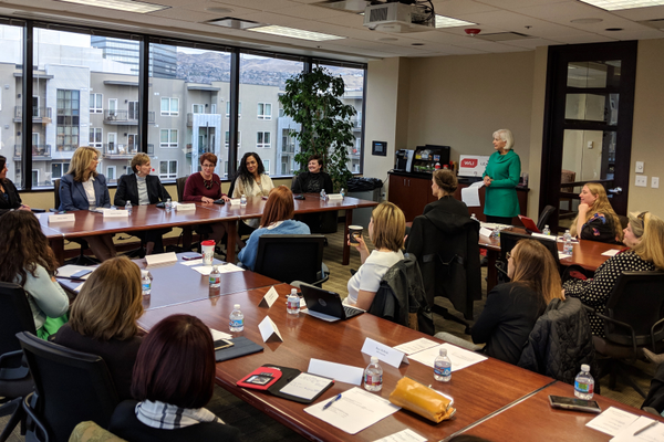 Left to right: Hillary Hahn, Government Relations, Utah Symphony Utah Opera; Kelleen Potter, Heber City mayor; Holly Daines, Logan City mayor; Katie Witt, Kaysville City mayor; Bev Uipi, Millcreek City Council; and Alisa Van Langeveld, currently enrolled in PDS. (Women's Leadership Institutue)