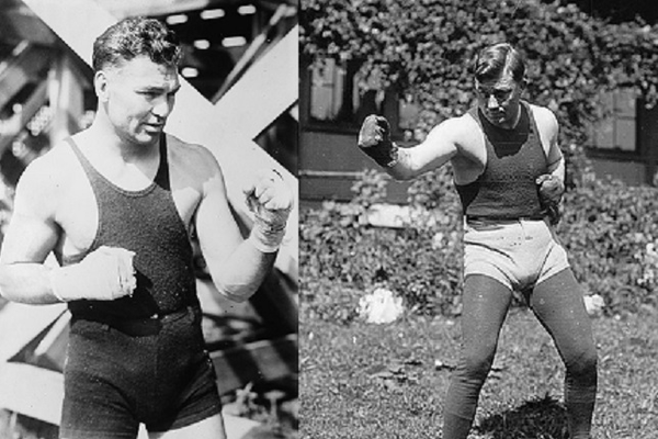 "Heavyweight boxing superstar Jack Dempsey (left) had his only KO in Murray from ""Fireman"" Jim Flynn (left). (Photo/Library of Congress)"