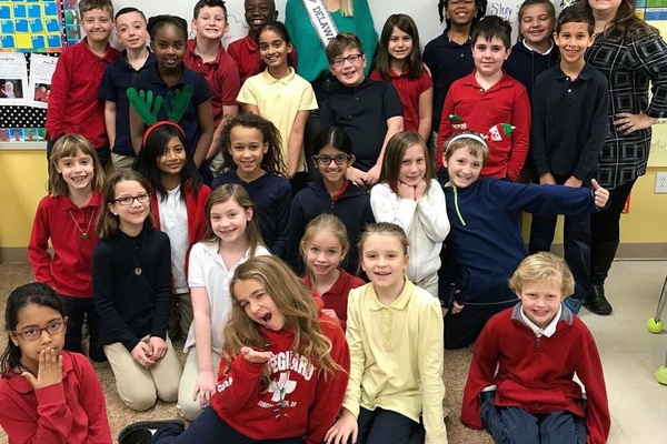 Returning to the MOT Charter School in Middletown, Close got to talk about what pageant life is like, and everyone wanted to wear her crown.