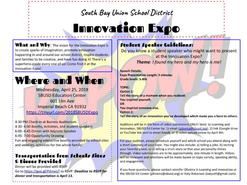 South Bay Union School District is Holding Its Annual Innovation