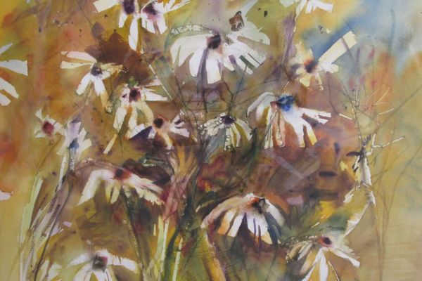A watercolor of daisies by Jack Giangiulio.
