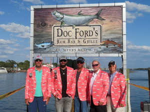 Past Tarpon Tournament winning captains sporting their coral tarpon jackets From left to right Matt Mitchell Chasin Poon 2016 John Landry Doc Fords and SportFisha 2012  2015 Mark Sparrow YAM 2017 John McDaniel Boomer Sooners 2014 and Rhett Dixon Team Teaser 2013