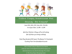 Children Cooking Demo Three Day Summer Camp - start Jun 25 2018 0200PM