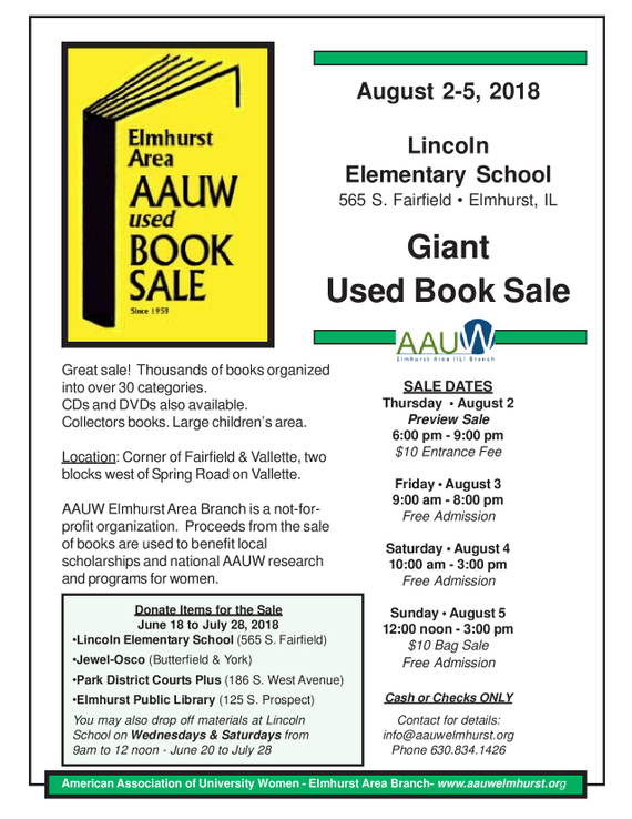 AAUW Elmhurst Area Branch Used Book Sale