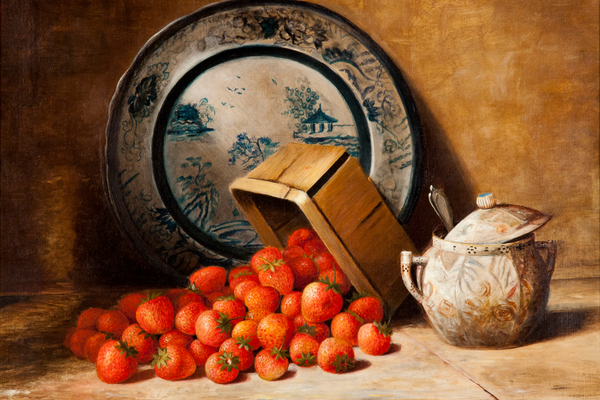 Richard La Barre Goodwin, Still Life with Strawberries, c. 1885, oil on canvas, 16 x 20 inches. Collection of the Palmer Museum of Art, Gift of Alvin and Jean Snowiss, 2011.104.
