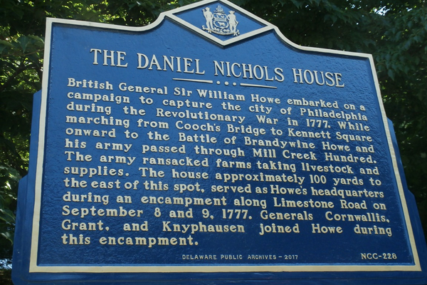 The historical marker placed on Limestone Road, indicating the location of the home occupied by Gen. Howe.
