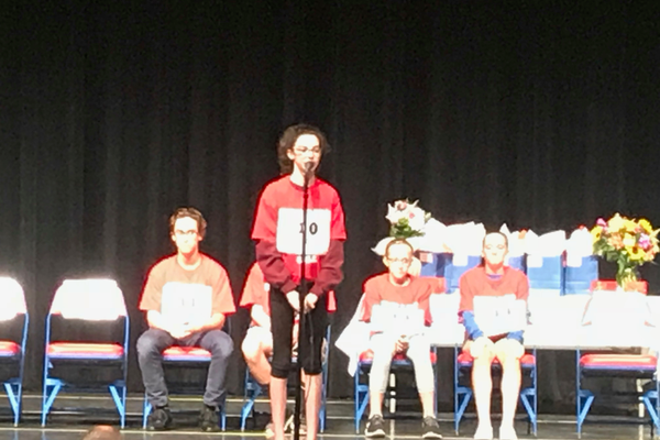 Eventual 7th grade winner Ava Paquette spells a word at the 5th Annual TEF Townwide Spelling Bee.