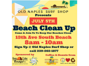 Naples July 5th Beach Clean Up - start Jul 05 2018 0800AM