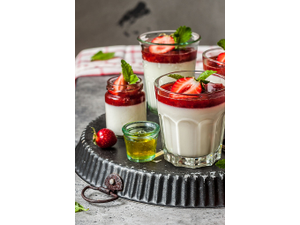 Strawberry Rhubarb Panna Cotta Photo courtesy of Adas Natural Market