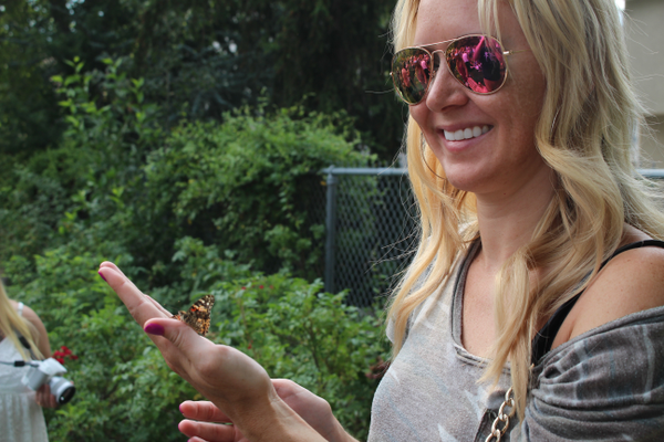 After the release, the butterflies stuck around to hang out with attendees.
