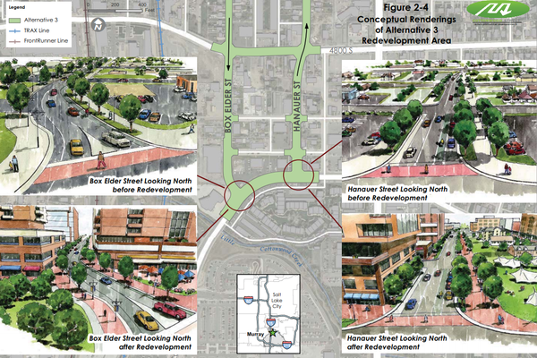 Map with different artist concepts of Box Elder and Hanauer future redevelopment. (Photo courtesy Murray City)