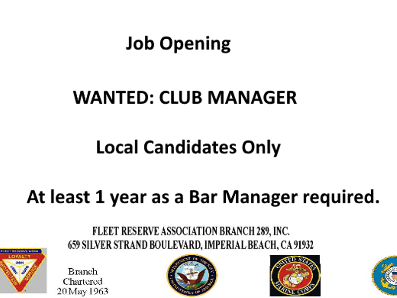 Now Hiring Club Manager For An Imperial Beach Non Profit Military Facility
