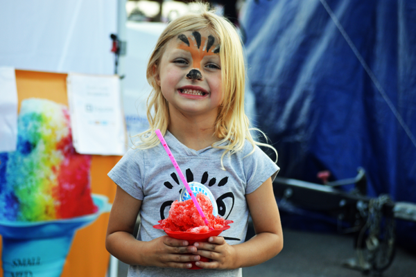 The festival had tons of stuff for kids, like snow cones and face paint.