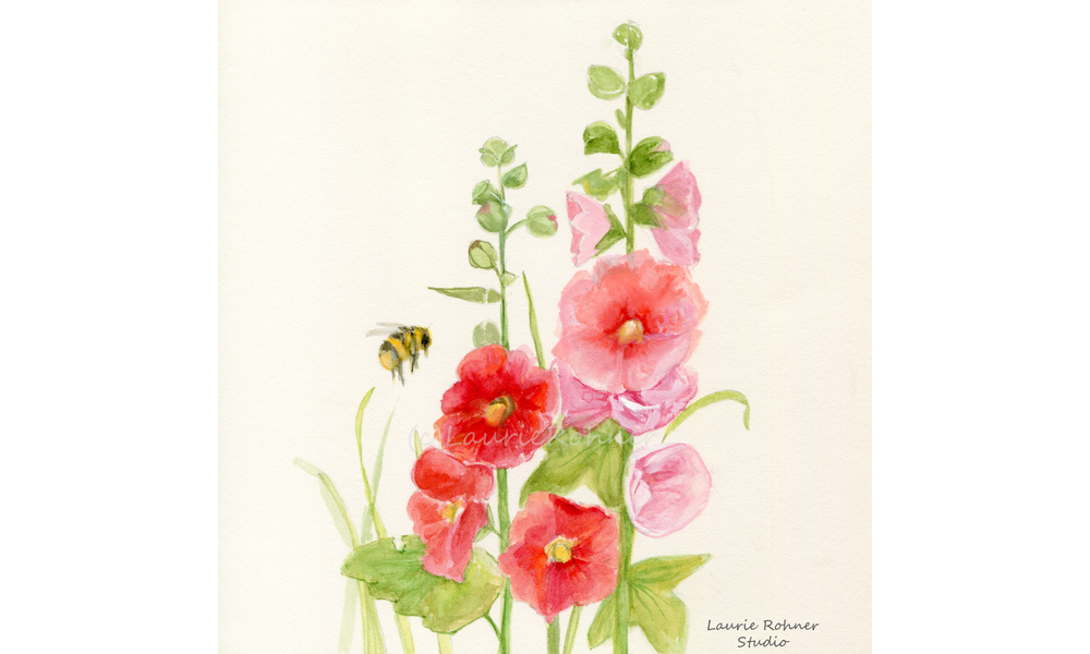 Pink 20hollyhock 20with 20bee 20watercolor 20 20etsy 20c