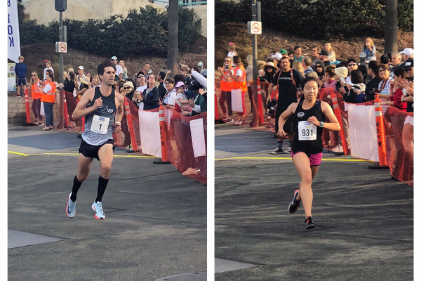 Race winners Stewart Harwell and Abby Hong finish the MB10K