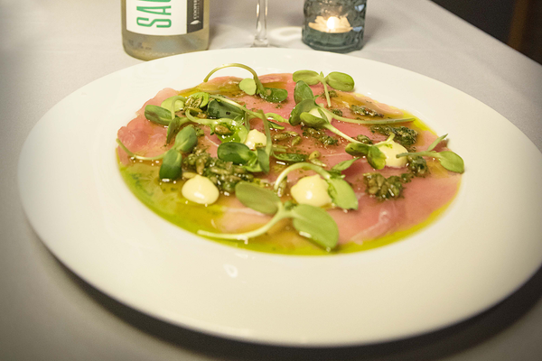 "Florence's ""Wine of the Month"" sauvignon blanc, paird with tuna carpaccio, at the dinner."