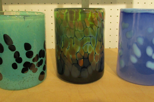 Glass tumblers by Kevin Lehman.