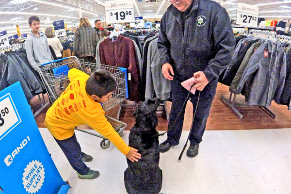 Even Matilda, a K-9 officer, came along to help with the shopping.