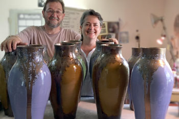 John & Scottie Post of Hog Hill Pottery. Courtesy of the Cabarrus arts Council.