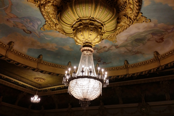 The chandelier at Mishler Theatre. Photos by Vanessa Orr