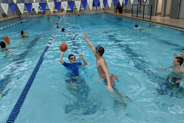 Aidan Kelley tries to block Logan Barnes' shot at the Shawsheen Tech's pool during an opportunity to connect outside of Tewksbury Congregational Church. (Courtesy photo)