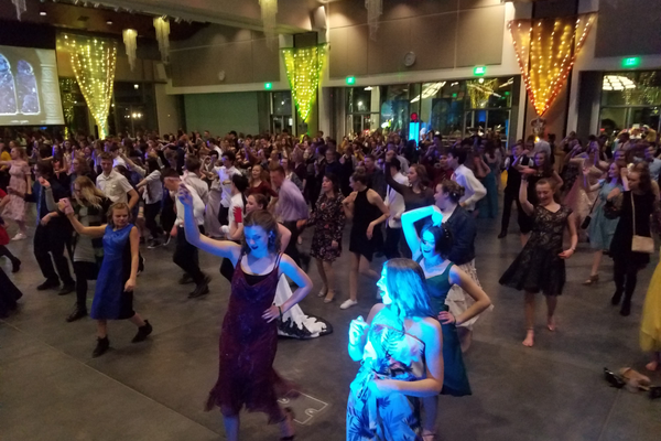 Teens display their country moves to the line dance during the Yule Ball at the Viridian Event Center on Jan. 18.