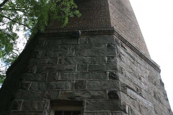Rear of the stone and brick water tower