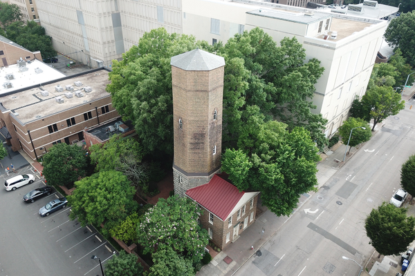 Aerial view of the tower from the east, 2018