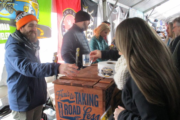 Two Roads Brewing Company handed out samples of their brews.