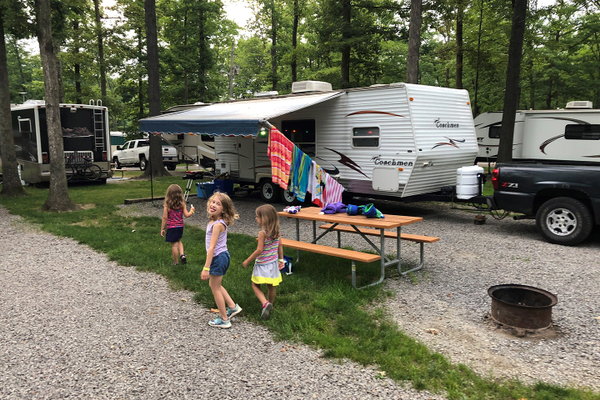 The Panormios family at an  RV campground.