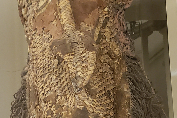 Basketry dance costume at the Logan Museum of Anthropology