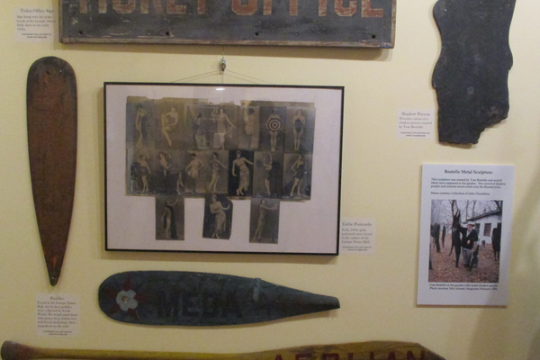 The Ticket Office sign, painted paddles, vintage postcards and one of Tom Bostelle's shadow sculptures from the dance hall.