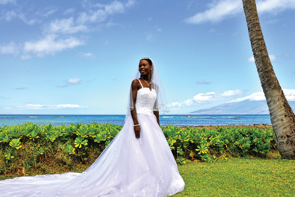 Ruth Lipparelli on her wedding day in Maui, Hawaii, Photo Credit: Larry Lipparelli