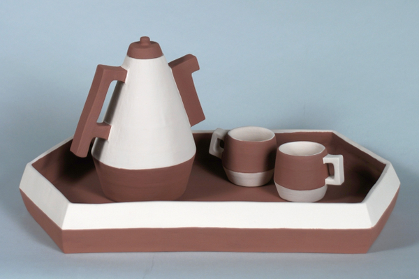 Mackenzie Roth, 'Straightforward Tea Set,' earthenware, underglaze.