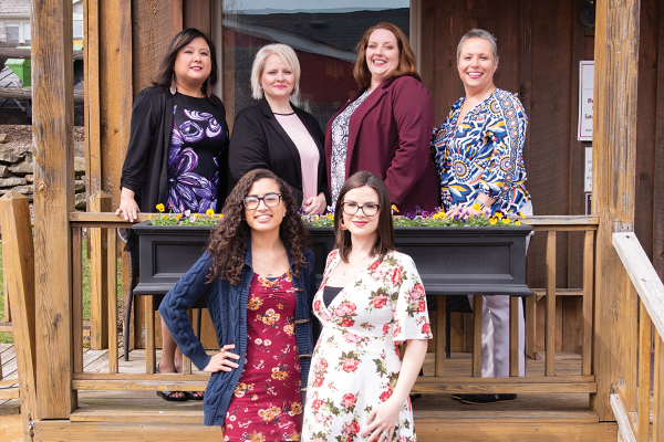 The staff at Advance Sourcing Concepts LLC. Front: row: Sade Valderrama, Colleen Schell  Back Row:  Marianne McCloskey, Sherry Long Stevens, Darci Faiello, Tina Siers