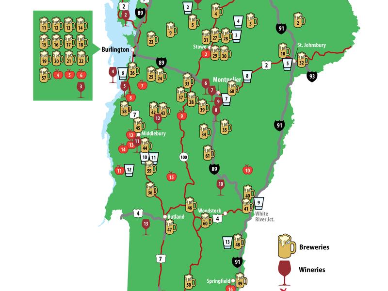 Breweries Vermont Map Vermont Map of Breweries, Distilleries, Vineyards, Ciders | Brew