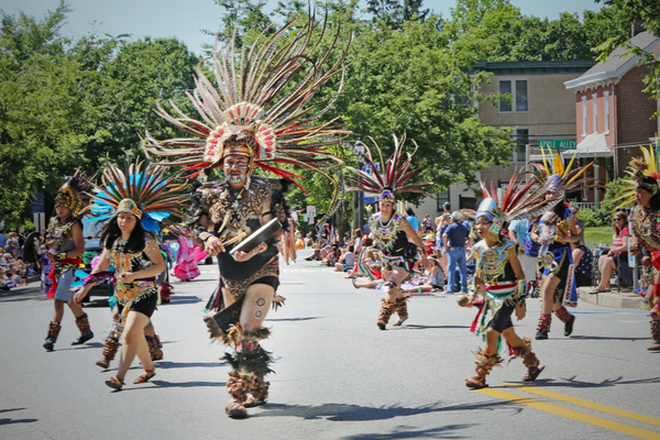 Aztec dancers thrill the crowd.