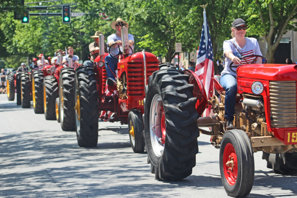 A line of tractors covered the length of the Broad Street parade route.