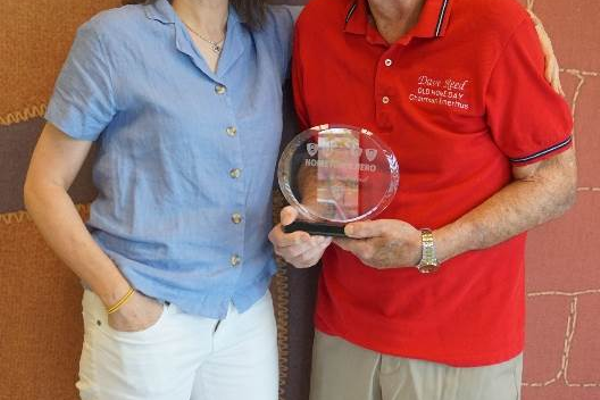 Dave Reed (right) is one of Jeanne D'Arc Credit Union's 2019 Hometown Heroes. Reed's long-time friend, Liz Bishop (left) nominated Reed for his time, efforts and commitment to Carlisle Old Home Day, and making it the town-treasured event it is today.