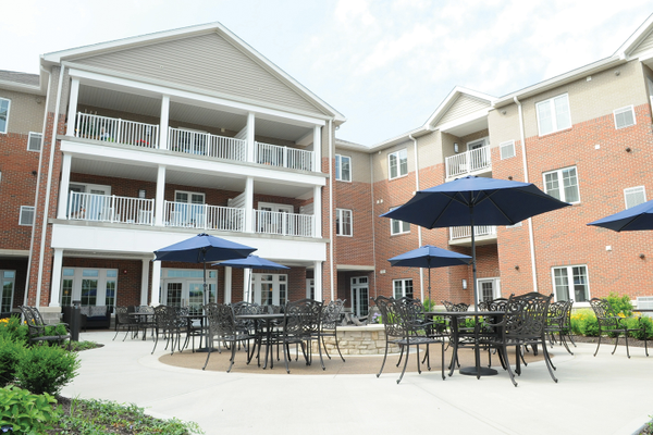 An outdoor patio At Highpointe