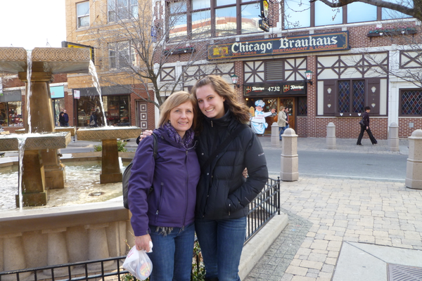 Laurie and Kristen in Kristen's new hometown, Chicago