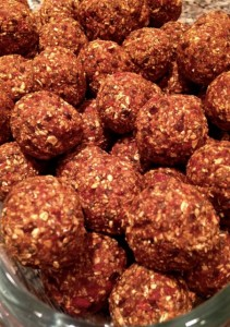 No bake chia balls close up
