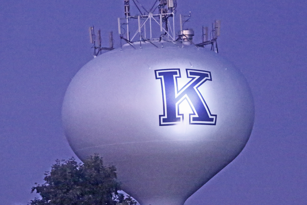 "The water tower on the school property showed off its lighted ""K"" for the first time during homecoming."